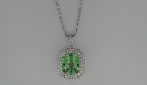 Green obsidian cushion cut pendant in sterling silver with pave CZs on an 18in chain Style 625-0030  $195.00