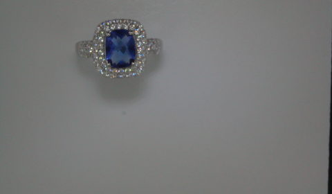 Blue obsidian cushion cut ring set in sterling silver with pave CZs  Style 625-0045 $175.00