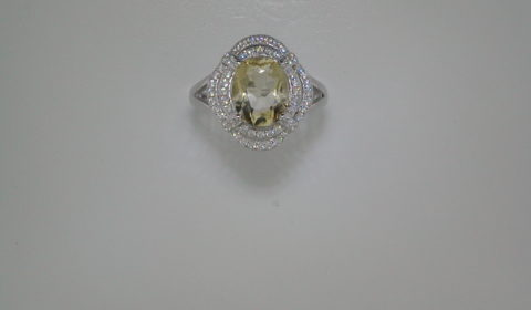 Citrine oval cut ring set in sterling silver with CZs  Style R00042/CIT  $175.00