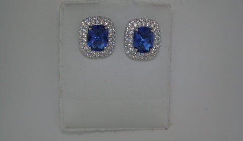 Blue obsidian cushion cut earrings set in sterling silver with pave CZs  Style 625-0049  $200.00