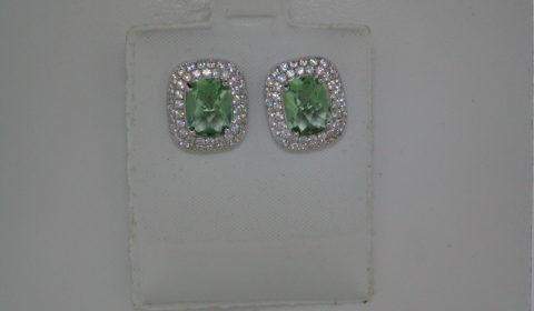 Green obsidian cushion cut earrings set in sterling silver with pave CZs Style 625-0050  $200.00