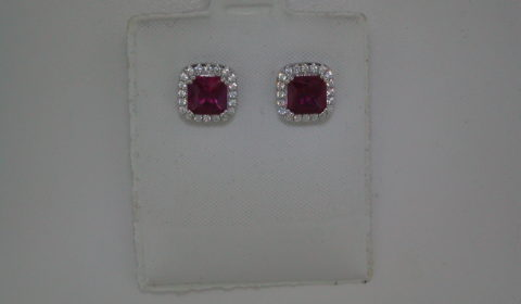 Red corrundum cushion cut earrings set in sterling silver with CZs   Style 625-0052  $150.00
