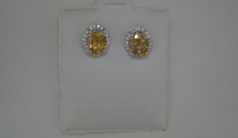 Citrine oval cut earrings set in sterling silver with CZs  Style 625-0053  $150.00