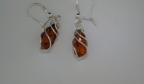Baltic amber earrings set in sterling silver Style 930-0064 $40.00