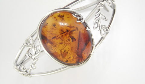 Baltic amber cuff bracelet set in sterling silver  Style 930-0075  $195.00