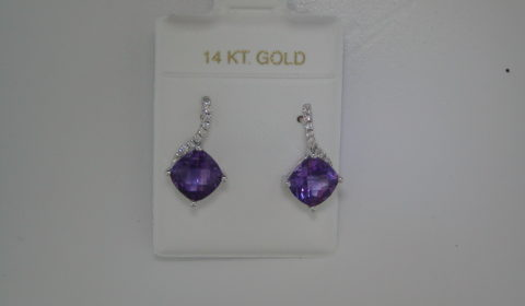 Checkerboard cut amethyst earrings =2.12ct  set in 14kt white gold with 18 diamonds =.09ct  Style 950-0088  $750.00