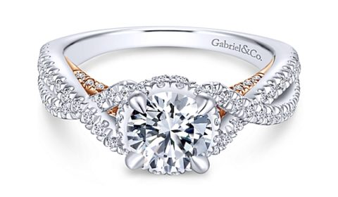Sample engagement ring from Gabriel NY and Co. Diamonds =.75ct set in two tone 14kt gold.  Style ER13835R4STZJJ  $3050.00  (without center stone)