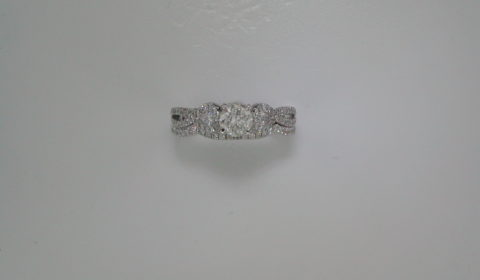 Bridal set =.50ct set in 14kt white gold with 2 pear shape diamonds =.26ct and 66 round diamonds =.33ct  Style 700-0327  $4500.00