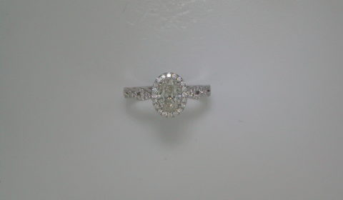 Oval halo woven engagement ring =.72ct set in 14kt white gold with 78 diamonds =.27ct  Style 700-0330  $4995.00