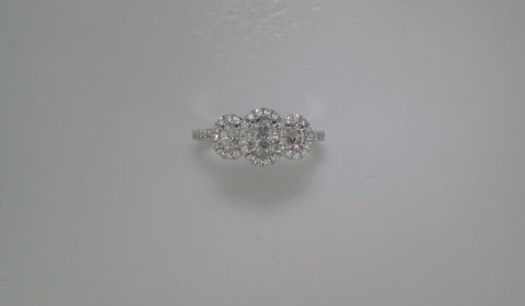 Oval diamond halo wedding ring =.69ct set in 14kt white gold with 54 diamonds =.34ct  Style 700-0331  $4495.00