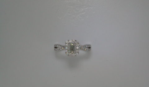 Emerald cut halo engagement ring =.40ct set in 14kt white gold with 56 diamonds =.48ct  Style 700-0333  $3995.00
