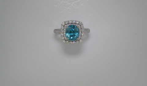 3.93ct blue zircon cushion cut ladies ring set in 14kt white gold with 90 diamonds =.96ct Style 910-0028 $4275.00