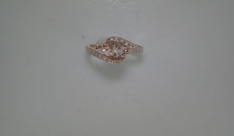 1.08ct morganite ladies ring set in 14kt rose gold with 16 diamonds =.12ct  Style 650-0072 $975.00