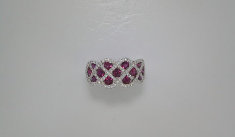 1.44ct ruby ladies ring set in 18kt white gold with diamonds =.36ct  Style 135-0155  $3650.00