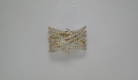 ladies ring with 6 rows of diamonds set in 14kt yellow gold with 131 diamonds =1.06ct  Style LR51114Y45JJ $3210.00