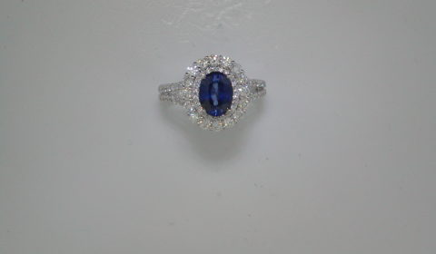 1.64ct Sapphire ladies ring set in 14kt white gold with 70 diamonds =1.00ct Style 661-0006 $4200.00