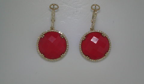 12.20ct Round Coral earrings set in 14kt yellow gold with 112 diamonds =.31ct  Style 270-0072 $1650.00