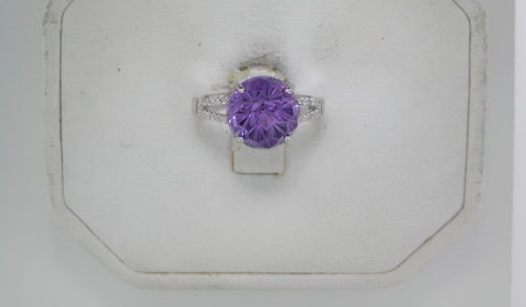 5.68ct Daisy cut Amethyst ring set in 14kt white gold with 26 diamonds =.11ct  Style 950-0096 $1375.00