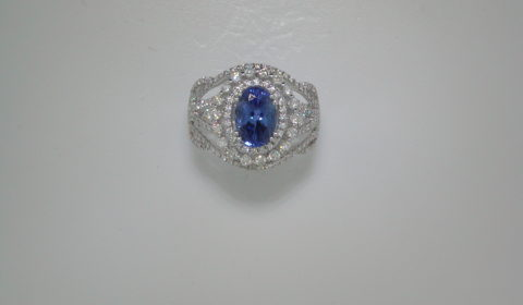 1.68ct Tanzanite ladies ring set in 14kt white gold with 161 diamonds =.90ct  Style 910-0034  $3800.00