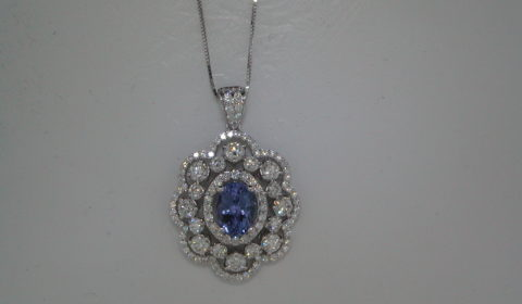 1.75ct Tanzanite pendant set in 14kt white gold with diamonds =2.00ct Style 910-0037  $6500.00