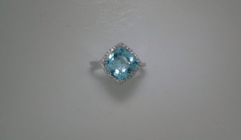 5.20ct Blue Topaz ring set in 14kt white gold with 32 diamonds =.13ct  Style 950-0105  $1125.00