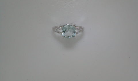 1.76ct Cushion cut Aquamarine ring set in 14kt white gold with 24 diamonds =.09ct Style 950-0108 $1425.00