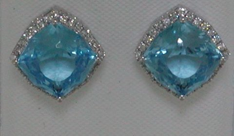 5.60ct Blue topaz earrings set in 14kt white gold with 56 diamonds =.22ct  Style Y032027EWTP $1175.00