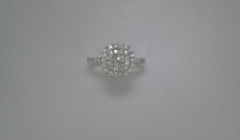 .31ct Cushion double halo engagement ring set in 14kt white gold with 44 diamonds =.72ct  Style 700-0345 $2995.00