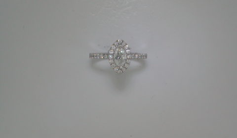 .50ct Marquise halo engagement ring set in 14kt white gold with 32 diamonds =.41ct  Style 700-0349 $3595.00