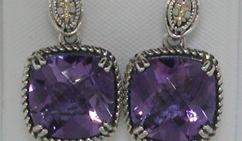 8.00ct Amethyst earrings set in sterling silver and 14kt yellow gold Style QTC1221 $250.00
