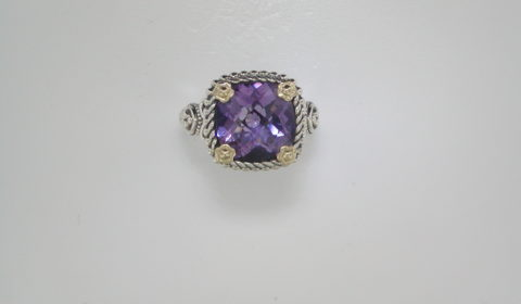 4.10ct Amethyst ring set in sterling silver and 14kt yellow gold Style 800-1953 $295.00