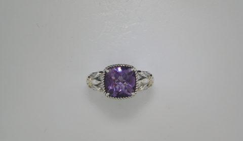 3.643ct Amethyst ring set in sterling silver and 14kt yellow gold Style 800-1958 $175.00