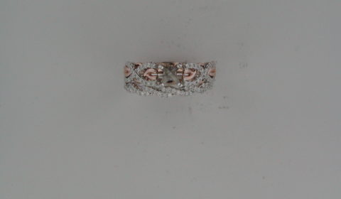 Semi-mount bridal set in 14kt rose and white gold with 82 diamonds =.41ct  Style 723-0001 $3000.00
