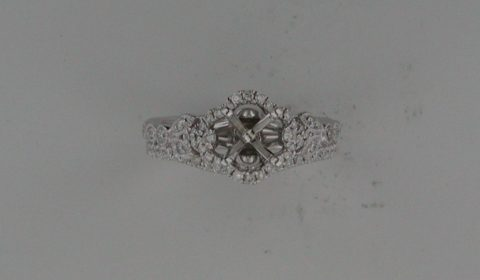 Semi-mount bridal set in 14kt white gold with 49 diamonds =.46ct  Style 723-0002 $2800.00
