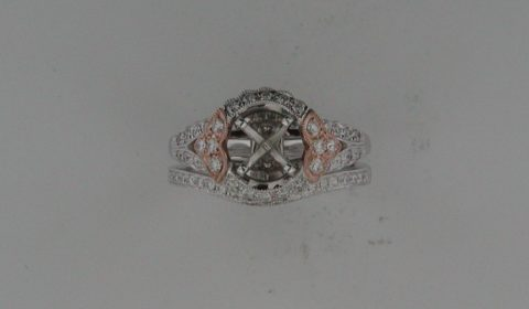 Semi-mount bridal set in 14kt rose and white gold with 61 diamonds =.53ct  Style 723-0004  $3400.00