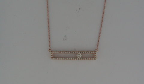 Bar pendant in 14kt rose gold with 51 diamonds =.25ct on an 18in chain  Style OP16A99  $1350.00