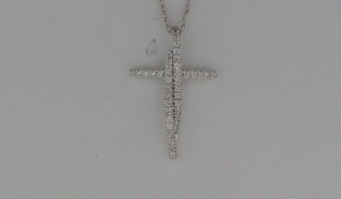 Cross pendant in 14kt white gold with 37 diamonds =.25ct  Style 723-0011  $1150.00