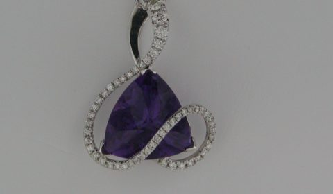 Amethyst pendant =13.90ct set in 14kt white gold with 50 diamonds =.83ct on an 18in chain  Style 907-0016 $3150.00