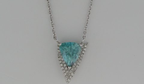 Blue zircon pendant =6.00ct set in 14kt white gold with 40 diamonds =.26ct on an 18in chain  Style 907-0017 $2850.00