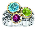 Andrea Candela multi-color ring in sterling silver and 18kt yellow gold  Style 121-0019  $375.00