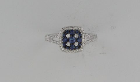Blue sapphire ring =.45ct in 14kt white gold with 78 diamonds =.34ct  Style 842-0027 $1550.00