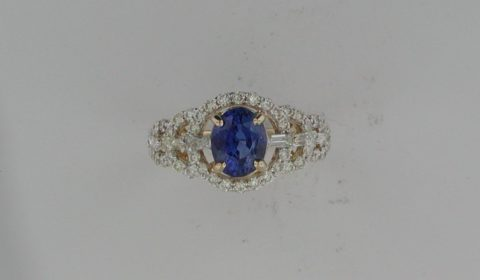 Sapphire ring =2.04ct set in 14kt yellow gold with 46 round diamonds and 6 baguetter diamonds =1.00ct  Style 910-0051 $7000.00