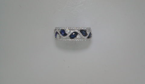 Sapphire ring in 18kt white gold =1.53ct with 98 diamonds =.76ct  Style 135-0178 $4150.00