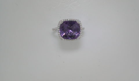 Amethyst ring in 18kt white gold =5.05ct with 44 diamonds =.18ct  Style 135-0179 $1450.00