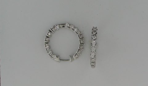 Illusion hoop earrings in 14kt white gold with 28 diamonds =.71ct.  Style 412-0095 $2200.00