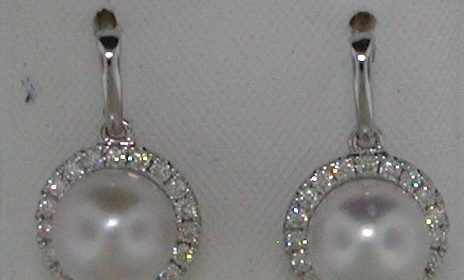 6.5-7mm pearl earrings in 14kt white gold with 38 diamonds =.30ct  Style 950-0150 $1275.00