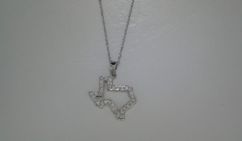 Texas dangle pendant in 14kt white gold with 42 diamonds =.33ct on an 18in chain. Style Y370999PWD33 $1150.00