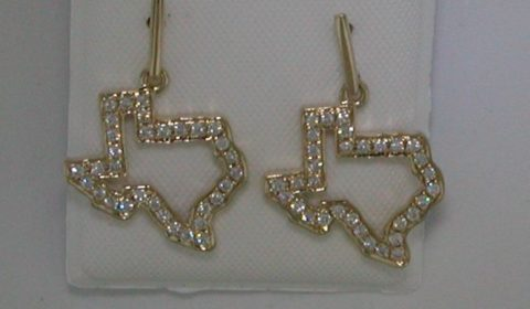 Texas dangle earrings in 14kt yellow gold with 64 diamonds =.32ct.  Style 950-0166 $1375.00