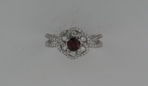 Ladies chatham ruby ring in 14kt white gold =.61ct, with 84 diamonds =.65ct.   Style 135-0197 $2475.00