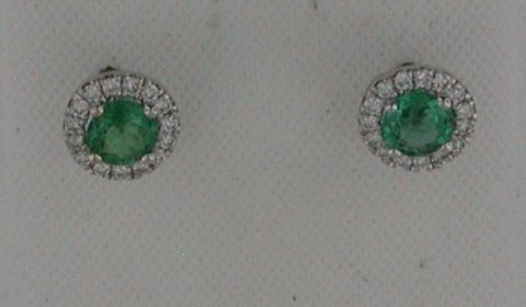 Emerald earrings in 18kt white gold =.32ct with 30 diamonds =.11ct.  Style 135-0203 $1450.00